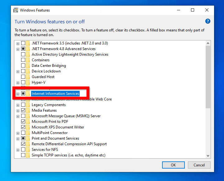 How to Install IIS in Windows 10 from Control Panel