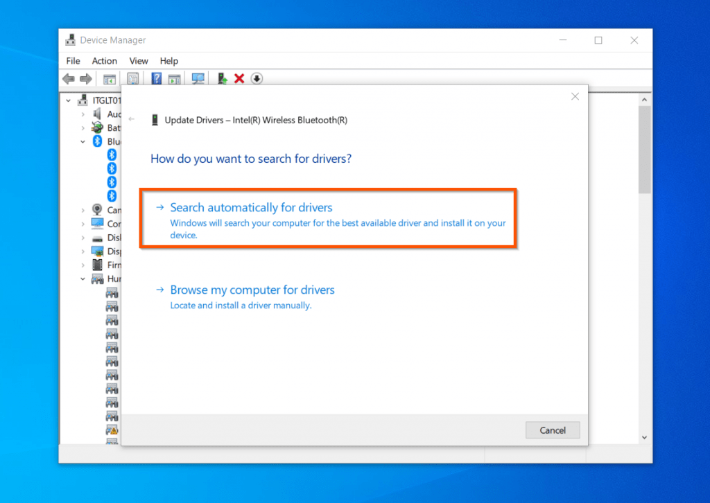 Fix Connections To Bluetooth Audio Devices And Wireless Displays In Windows 10 - Update Bluetooth Driver