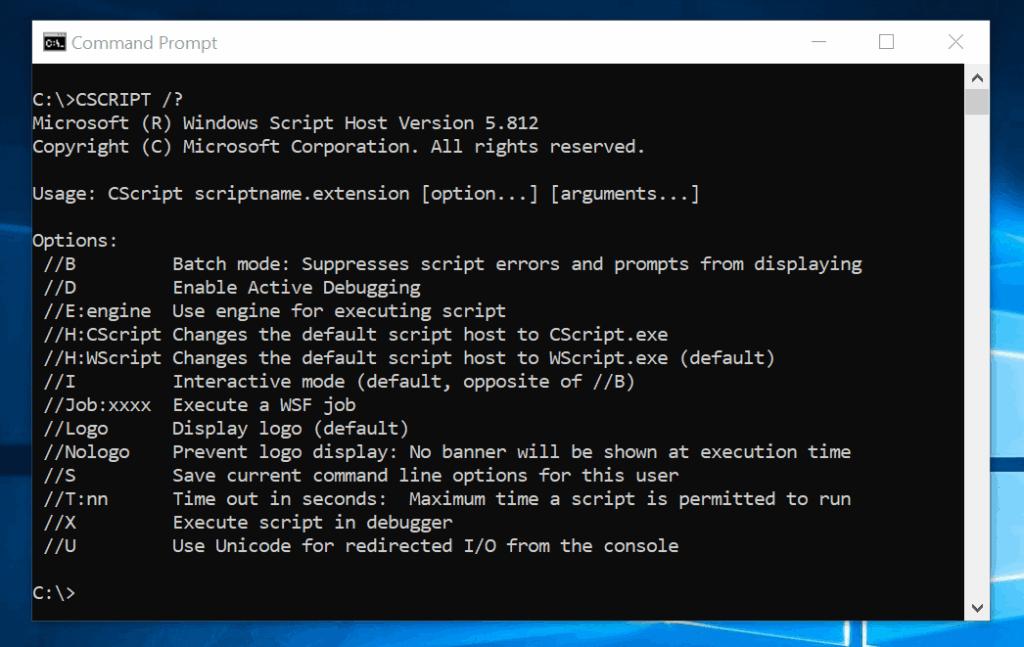 WSCRIPT and CSCRIPT Commands: Syntax, Parameters, Examples