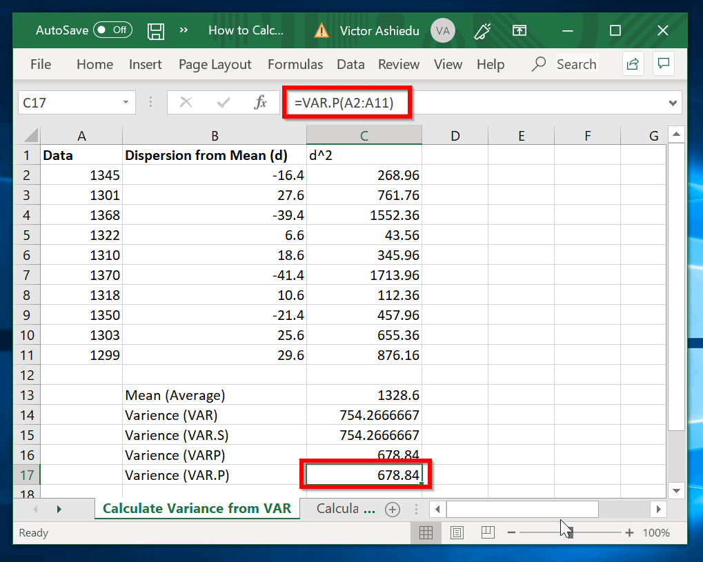 How to Calculate Variance in Excel   Itechguides.com